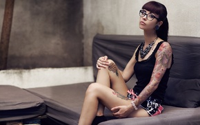 couch, portrait, girl with glasses, girl, tattoo, Daisy Citti