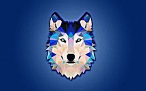 blue, wolf, white, minimalism