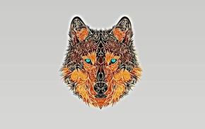 turquoise eyes, wolf, minimalism