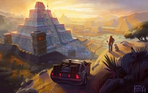 mayan, pyramid, artwork, movies, Back to the Future, fantasy art