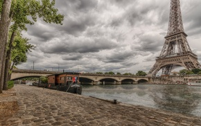 boats, tower, HDR, city, France, clouds