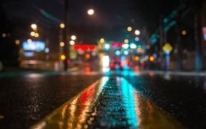 lights, street, blurred, urban, wet, reflection