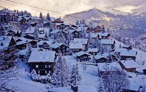 snow, urban, Switzerland