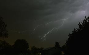 rain, landscape, storm, lightning, nature