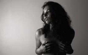 holding boobs, model, monochrome, girl, strategic covering