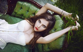 classy, corsets, green, nature, sensual gaze, photography