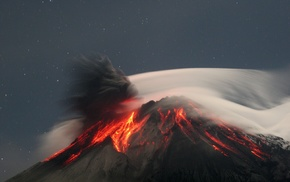 volcanic eruption, nature, lava, eruption, rock, stars