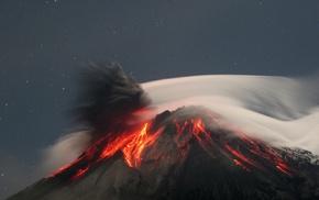 volcanic eruption, nature, lava, eruption, rock, stars