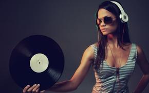 DJ, headphones, music, girl, vinyl