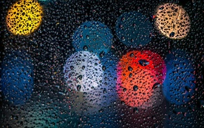 glass, closeup, depth of field, lights, dark, water drops