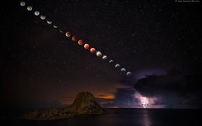 space, moon, universe, stars