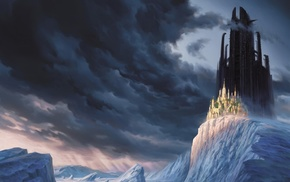 illustration, Christophe Vacher, castle, fantasy art