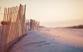 fence, sand, beach