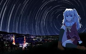 school uniform, Charlotte anime, Tomori Nao, night, white hair, anime