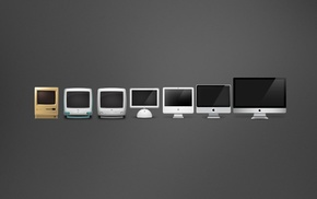 evolution, Apple Inc., gray background, computer, minimalism