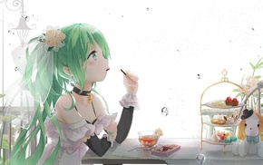 green hair, flowers, cakes, water, Hatsune Miku, Vocaloid