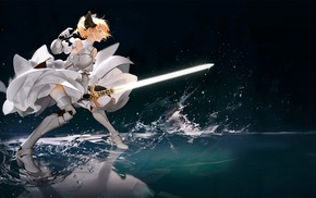 blonde, girl with swords, Fate Series, Saber Lily, anime girls, triple screen