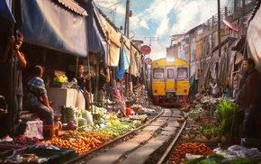 bar, fruit, railway, diesel locomotives, house, Thailand