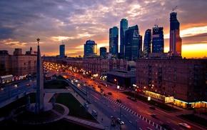 city, lights, skyscraper, architecture, street, clouds