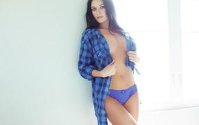 open shirt, blue panties, brunette, blue eyes, Elena Romanova, panties