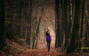 forest, running, girl, sports