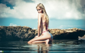girl, sensual gaze, sea, holding knees, ass, rock