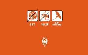 minimalism, The Elder Scrolls V Skyrim, orange background