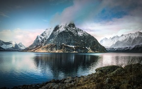 sea, lake, snowy peak, landscape, clouds, nature