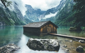 boathouses, mountain, forest, landscape, lake, Germany