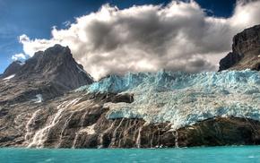 waterfall, sea, HDR, clouds, glaciers, island