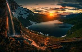 landscape, lake, grass, nature, waterfall, sky