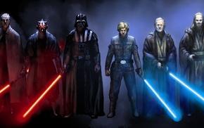 Luke Skywalker, Qui, Gon Jinn, Emperor Palpatine, Anakin Skywalker, Yoda