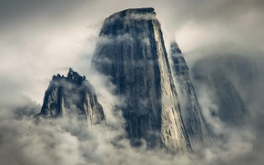 cliff, mountain, mist, landscape