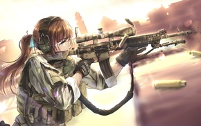 anime girls, weapon, rifles, military, girl, TC1995