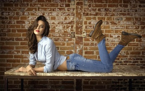 brunette, jeans, lying on front, red lipstick, shirt, girl