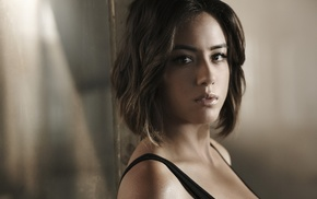 face, brunette, Agents of S.H.I.E.L.D., brown eyes, depth of field, Chloe Bennet