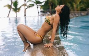 swimming pool, girl, bikini, sitting, Aurela Skandaj, closed eyes