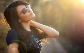 face, depth of field, girl, blurred, sunglasses, dark hair