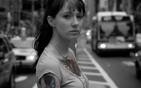 city, car, selective coloring, model, tattoo, urban