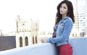 Emily Rudd, long hair, rooftops, looking at viewer, denim, sensual gaze