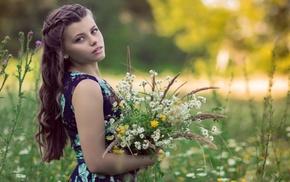 depth of field, brunette, bare shoulders, girl outdoors, nature, flowers