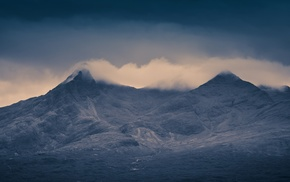 hill, mist, nature, mountain, dark, Skye