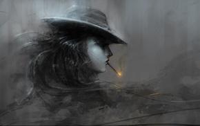 artwork, girl, smoking