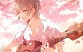 anime boys, guitar, musical instrument, closed eyes, short hair
