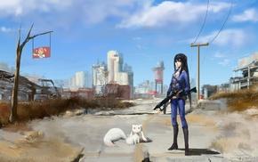 Mahou Shoujo Madoka Magica, wasteland, weapon, Kyuubey, Fallout, long hair