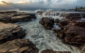 water, nature, sea, waterfall, HDR, long exposure