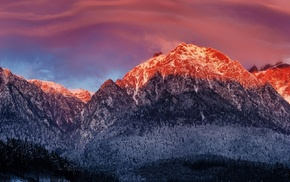 panoramas, nature, snow, mountain, sunset, landscape