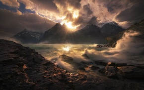 sunset, Chile, Torres del Paine, snowy peak, mountain, clouds