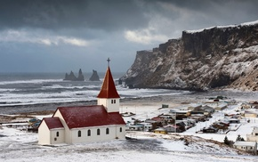 church, vik, landscape, sea, snow, Iceland