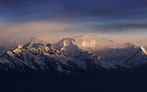 landscape, Nepal, mountain, snowy peak, Himalayas, mist